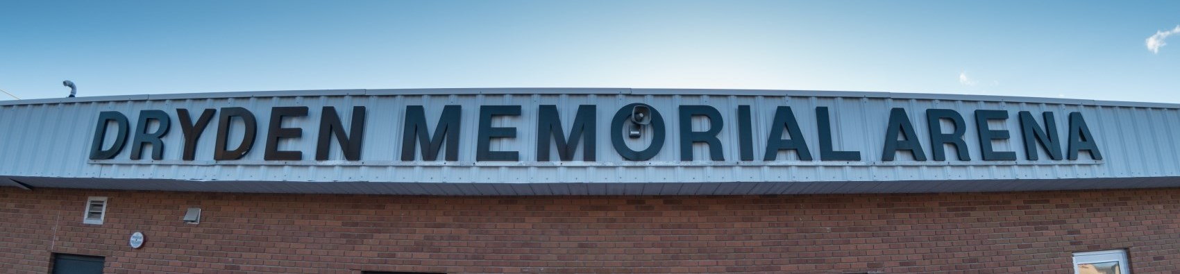 dryden memorial arena sign on building
