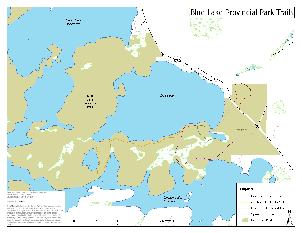 blue lake ontario map Hiking And Trails City Of Dryden blue lake ontario map