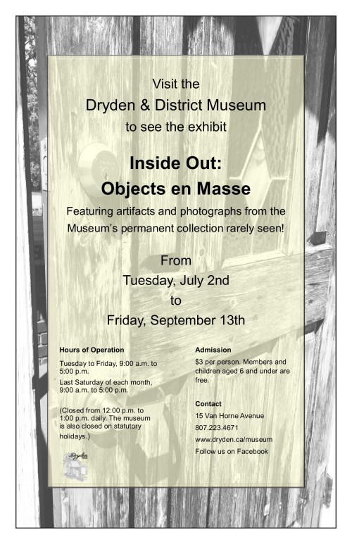 "Poster for the exhibit ""Inside Out: Objects en Masse"" from July 2nd to September 13th"