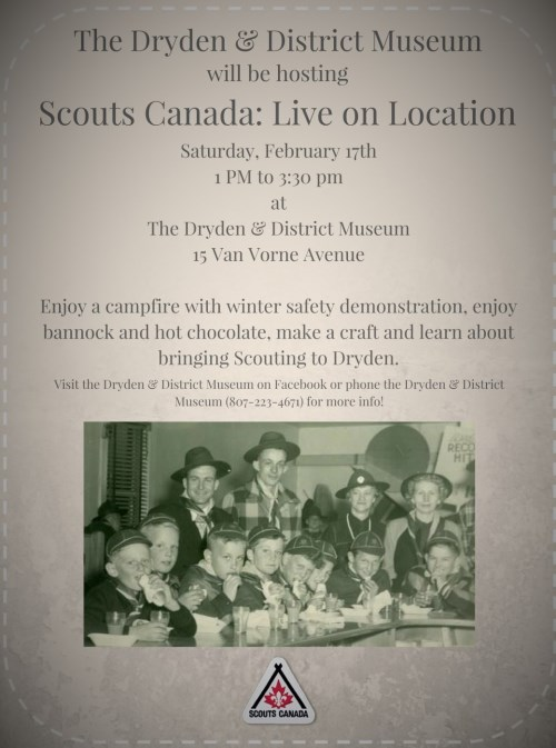 Poster for the event Scouts Canada: Live on Location with date and time and a photo of Dryden Wolf Cubs in 1949.