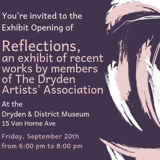 "Invitation to the opening reception for TDAA art exhibit ""Reflections"""