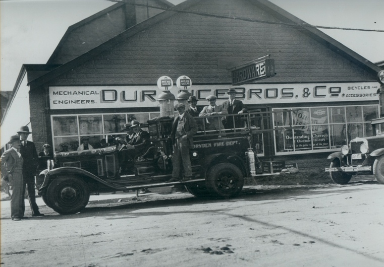 1929 Mayor and Councillors pose with new Bickle Fire Truck upon its delivery to Dryden