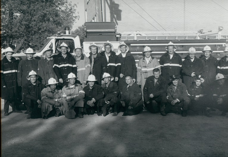 Firefighters group photo, taken July 1970