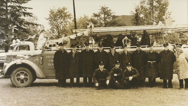 Firefighters group photo, taken July 1, 1950