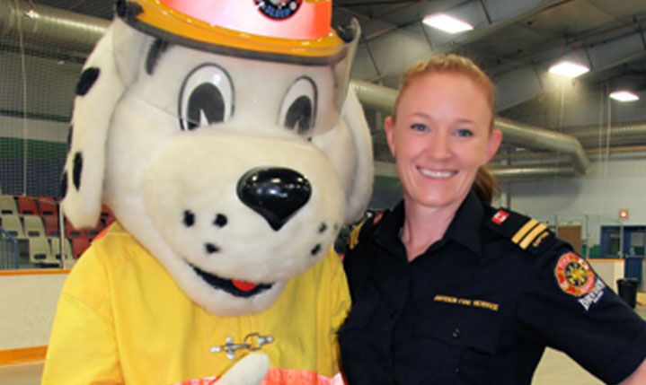 Sparky the fire dog and girl