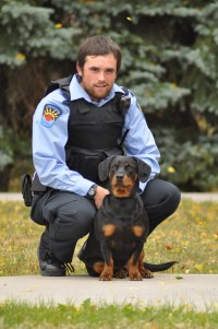 By Law Enforcement Officer with dog